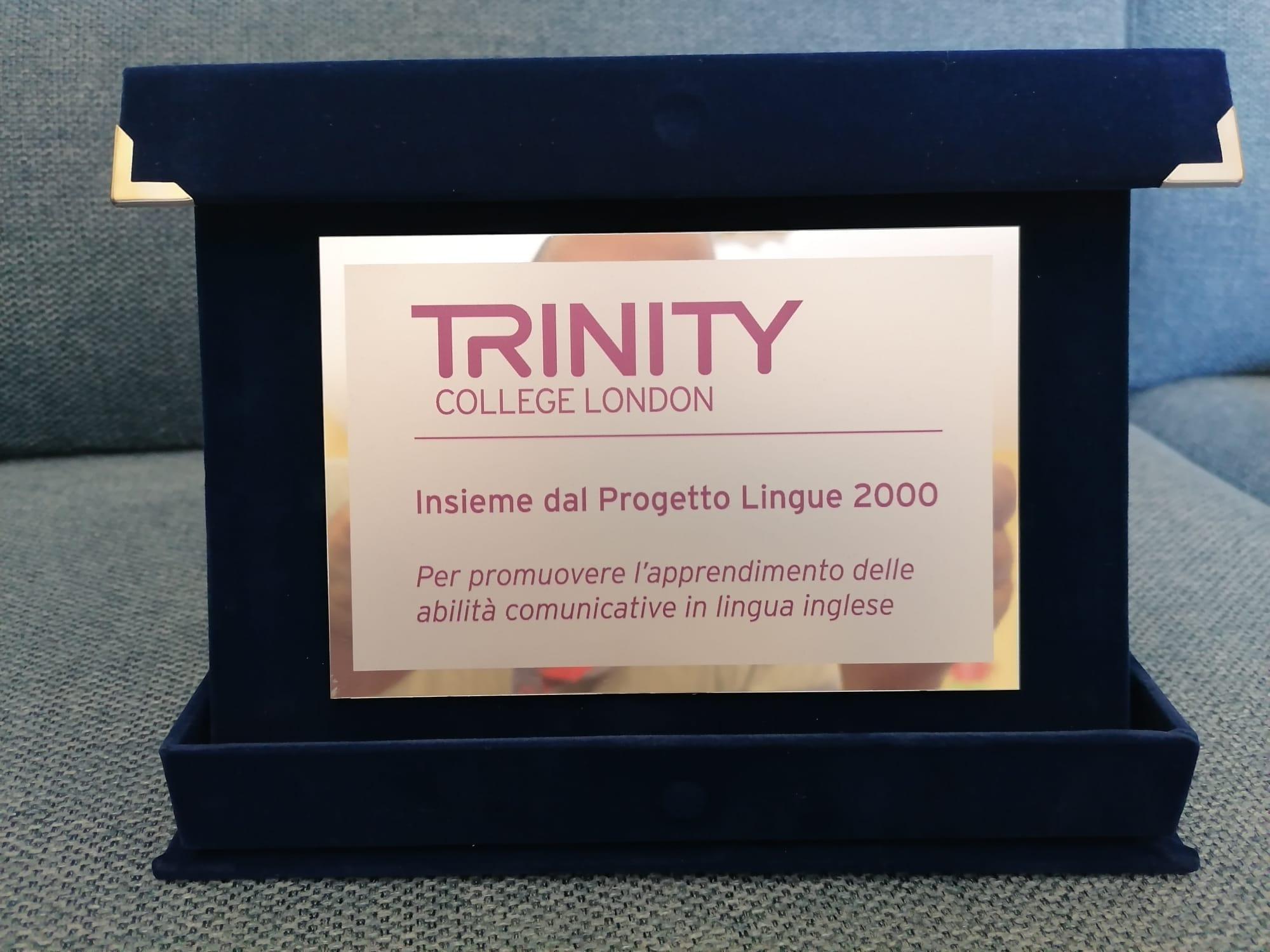 targa progetto lingue 2000 Trinity riconoscimento 20 anni - giu21