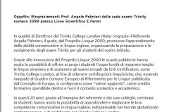 ringraziamento referente Palmieri progetto Lingue 2000 Trinity - giu21